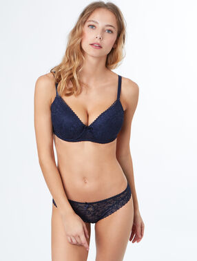 Padded demi cup bra, d&e cups blue.