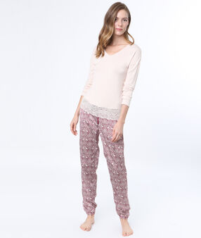 Printed pyjama pants burgundy.