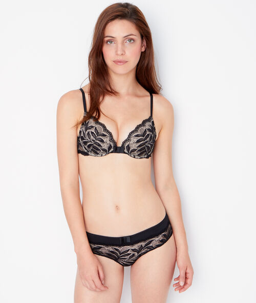 Micro and lace padded demi cup bra