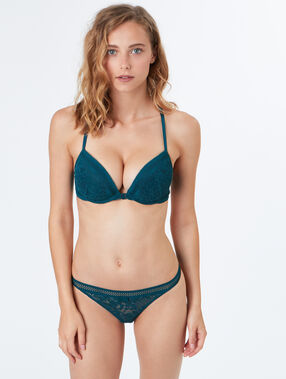 Padded demi cup bra green.