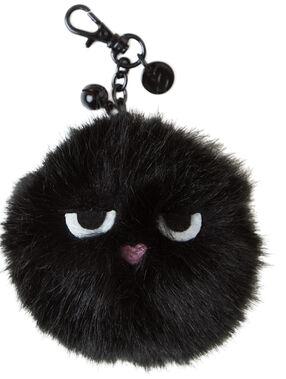 Faux fur key holder black.