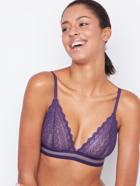 Lace triangle bra purple.