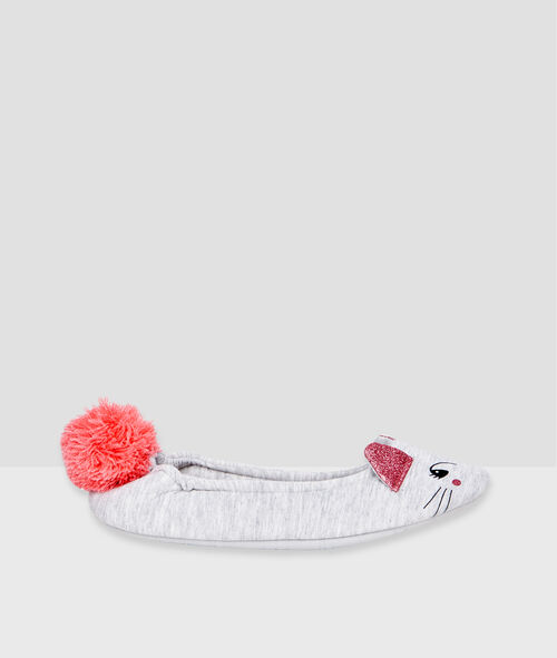 Mouse ballet flats with pompom