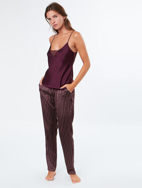 Striped satine pyjama pants burgundy.
