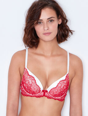 Satin and lace magic up bra rouge / écru.