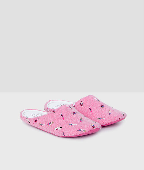 Feather print slippers