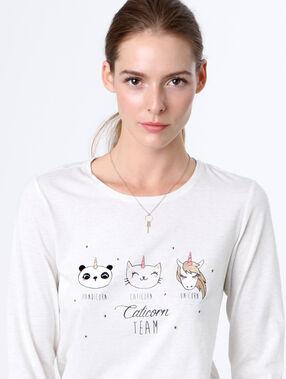 Unicorn pyjama oberteile weiß.