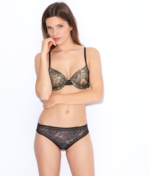 Lace padded demi cup bra