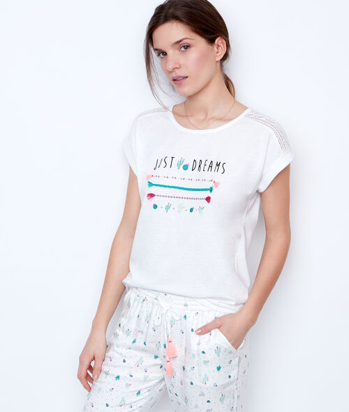 PRINTED AND EMBROIDED T-SHIRT