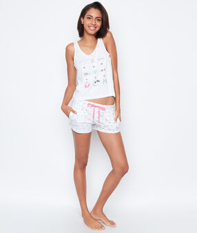 Printed pyjama shorts white.