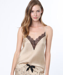 Lace satine top champagne.