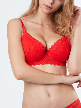 Padded demi cup bra orange.