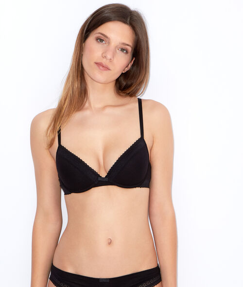 Cotton padded demi cup bra