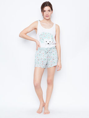 Printed pyjama shorts white.