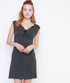 Printed nightdress grey.