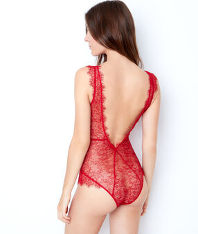 Lace bodysuit red.