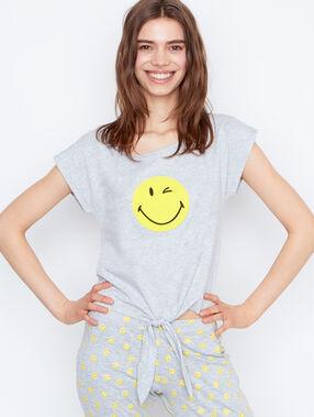 Printed smiley t-shirt gris.