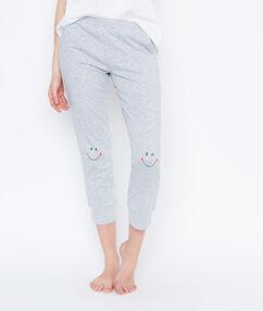 Smiley printed pyjama pants grey.