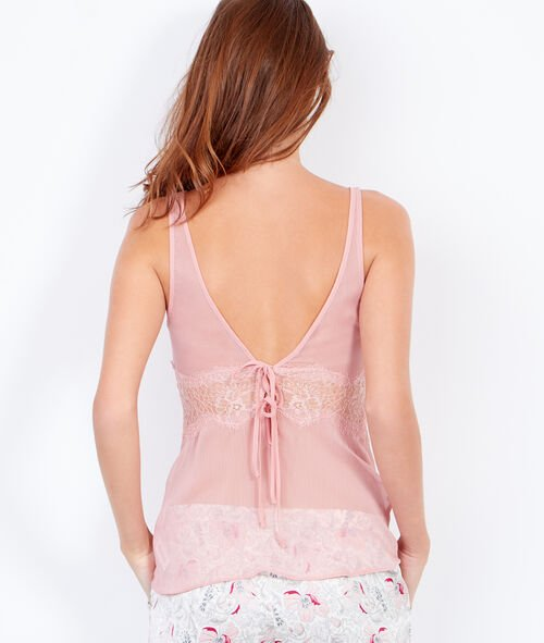 Sleeveless top with lace insert