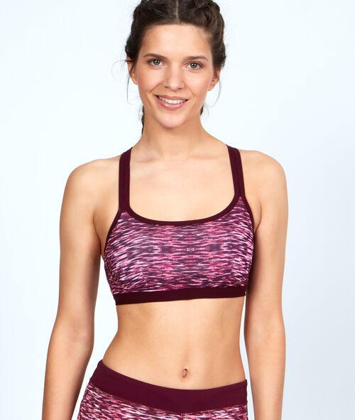 Printed sport bra, reshaping effect, racer back
