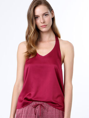 Lace back top burgundy.