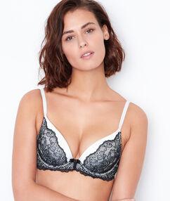 Satin and lace magic up bra black.