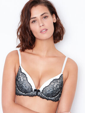 Satin and lace magic up bra black.