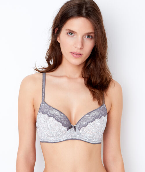 Printed micro padded demi cup bra