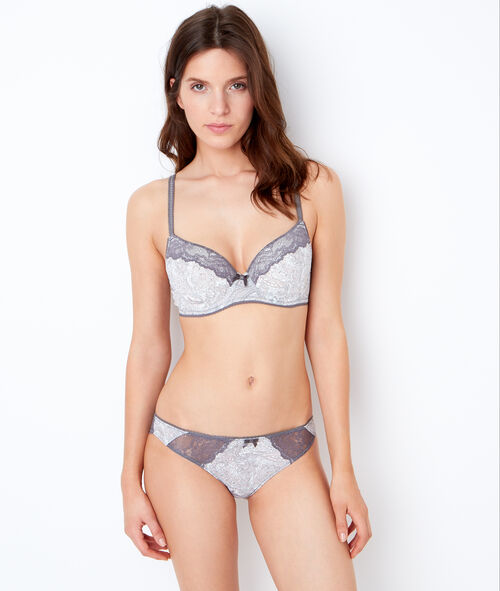 Printed micro and lace knickers