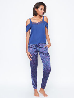Printed satine pyjama pants blue.