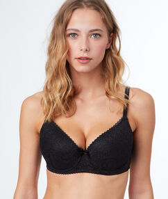 Padded demi cup bra, d&e cups black.