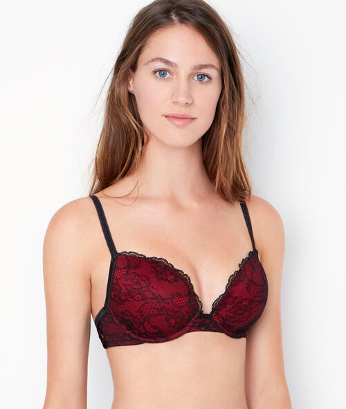 Lace padded demi cup bra, D cup