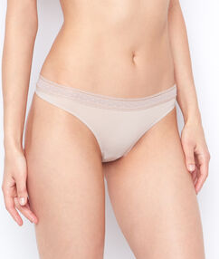 Lace and micro thong beige.