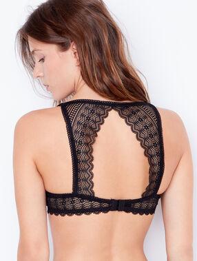 Lace magic up bra black.