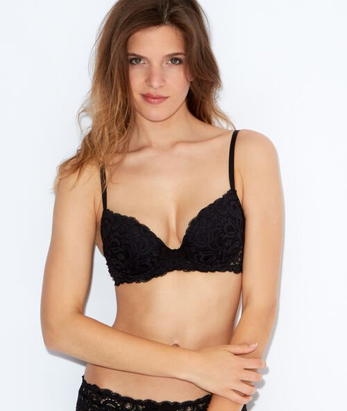Lace padded demi cup bra, B to E cups