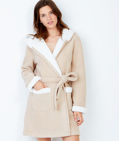 Fleece pyjama jacket beige.