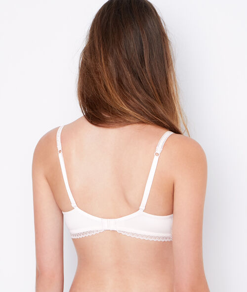 Lace and micro padded demi cup bra, D cup