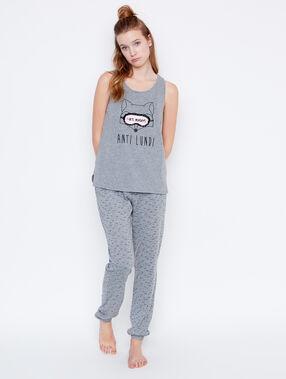 Printed pyjama pants grey.