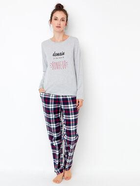 Printed pyjama top grey.