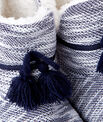Slipper boots with pompoms