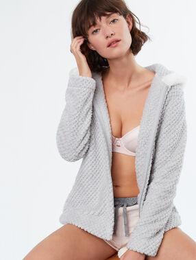Faux fur pyjama jacket grey.