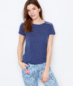 Embroided top blue.