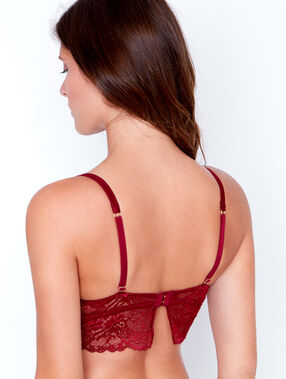 Lace triangle bra, push up burgundy.