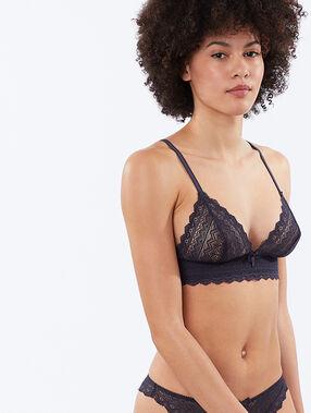 Lace triangle bra grey.