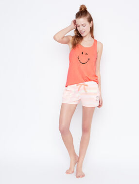 Smiley pyjama shorts orange.
