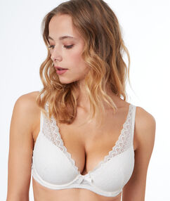 Lace padded triangle bra, d cup ecru.