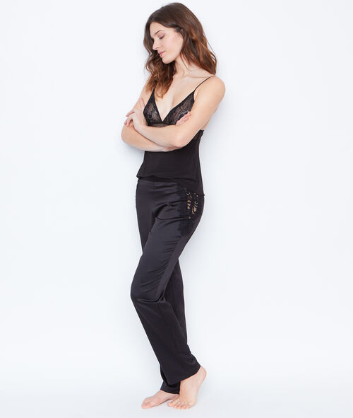 PANTALON SATIN DENTELLE