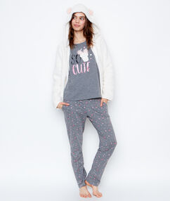 Monster print 3-pieces pyjama grey/off white.