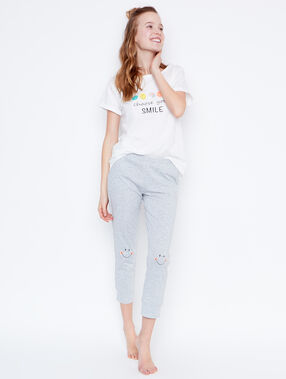 Smiley printed pyjama pants grey.