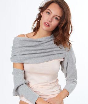 Schulter wrap sweater grau.